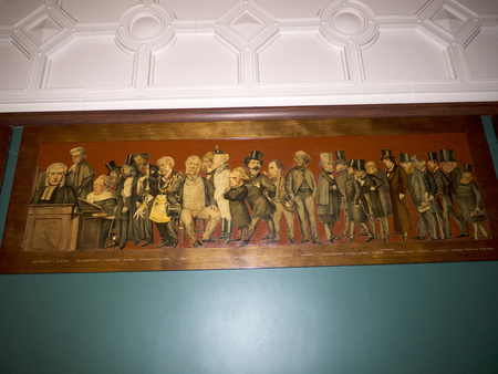 20th century: Room in Bodelwyddan Castle North Wales with paintings of caricatures of famous People of the 19th and early 20th Century Editorial