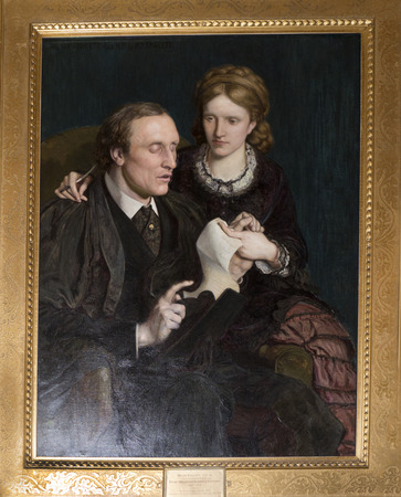 Room in Bodelwyddan Castle North Wales with painting of blind Politician Henry Fawcett and his wife