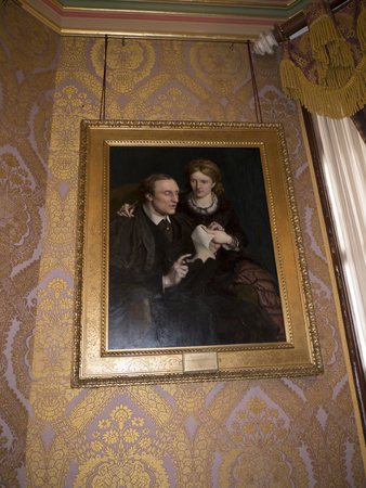 henry: Room in Bodelwyddan Castle Wales with painting of Blind Politician Henry Fawcett and his wife Editorial