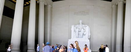 enormous: Lincoln Memorial with its Enormous Statue of Abraham Lincoln in Washington DC USA Editorial
