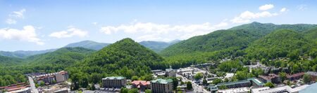 smokey: View of the Town in the Smokey Mountains from the Tower in Gatlinburg Tennessee USA Editorial