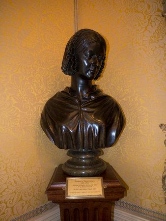 ruise�or: Busto de Florence Nightingale en Bodelwyddan Castillo de Gales del Norte Editorial