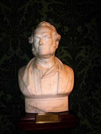 rajah: Bust of Rajah Brookes of Sarawak at Bodelwyddan Castle North Wales Editorial