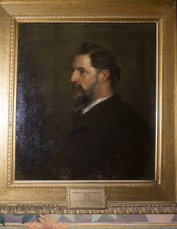 archaeologist: Portrait of the Archaeologist Sir William Matthew Flinders Petrie at Bodelwyddan Castle in North Wales