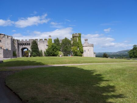 portcullis: Ramparts at Bodelwyddan Castle in North Wales
