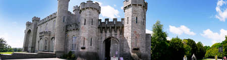 portcullis: Ramparts at Bodelwyddan Castle in North Wales