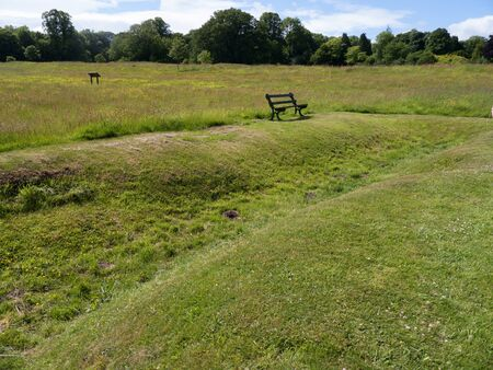 portcullis: Remaining evidence of WW1 trenches used to train soldiers from nearby Kimbel Camp in the art of Trench warfare at Bodelwyddan Casle Stock Photo