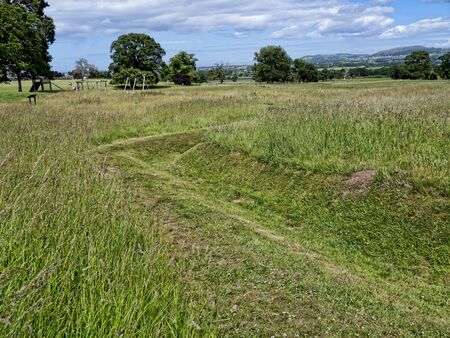 ww1: Remaining evidence of WW1 trenches used to train soldiers from nearby Kimbel Camp in the art of Trench warfare at Bodelwyddan Casle Stock Photo