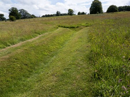 trenches: Remaining evidence of WW1 trenches used to train soldiers from nearby Kimbel Camp in the art of Trench warfare at Bodelwyddan Casle Stock Photo