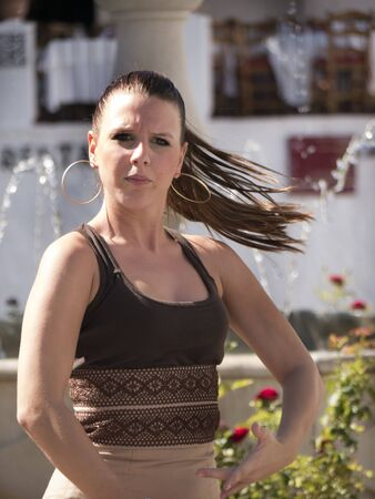 brenda kean: Flamenco Dancers in the town square in Mijas. Mijas is one of the most beautiful white villages of the Southern Spain area called Andalucia Editorial