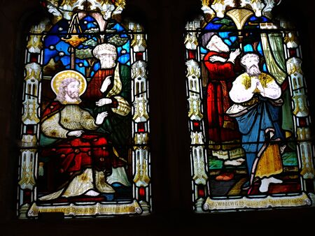burnley: Stained Glass in St Peters Parish Church in Burnley Lancashire Editorial