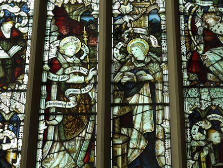 lancashire: Stained Glass in St Peters Parish Church in Burnley Lancashire Editorial