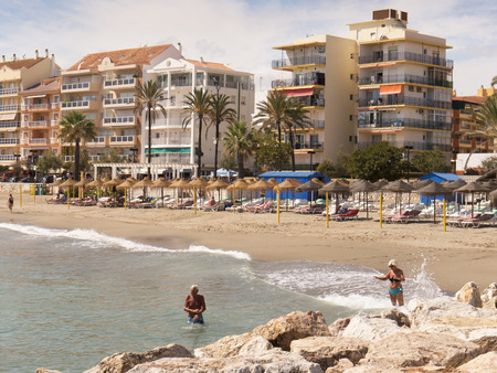Beach and  the promenade in Fuengirola on the Costa Del Sol Spain
