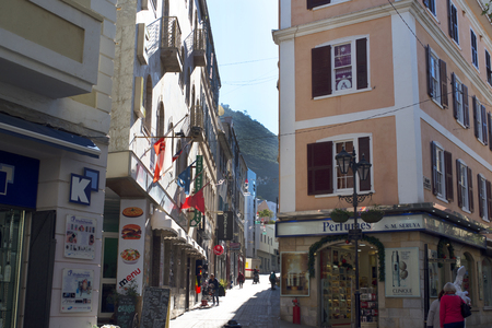 garrison: Main Street on the Rock of Gibraltar at the entrance to the Mediterranean Sea