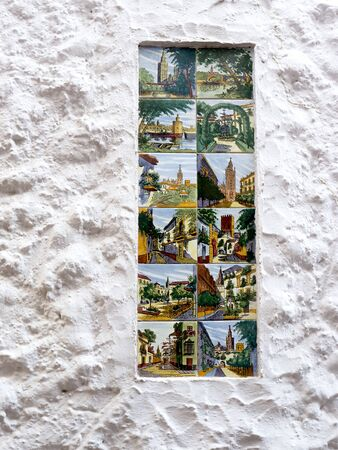 aspects: Ceramic Tiles depicting aspects of Spanish Culture in the Old Town of Marbella on the Costa del Sol Spain