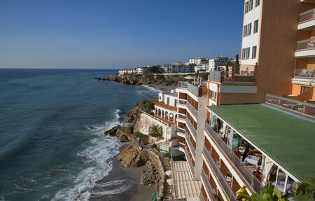 europa: The Balcon de Europa is a viewpoint down the coast set in the cliffs in Nerja Spain