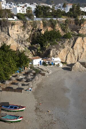 nerja: One of the seven beaches at Nerja on the Costa del Sol Spain