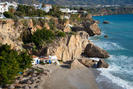 beaches of spain: One of the seven beaches at Nerja on the Costa del Sol Spain