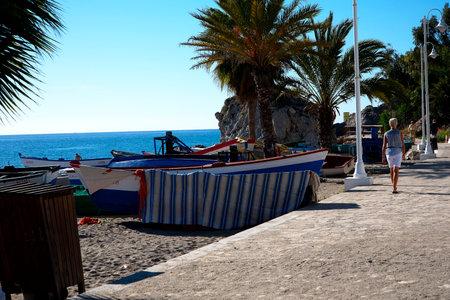 nerja: Beach scenes in Nerja, a sleepy Spanish Holiday resort on the Costa Del Sol  near Malaga, Andalucia, Spain, Europe