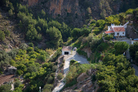 alpujarra: Gorge at Frigiliana one of the most beautiful white villages of the Southern Spain area of Andalucia in the Alpujarra mountains. Editorial