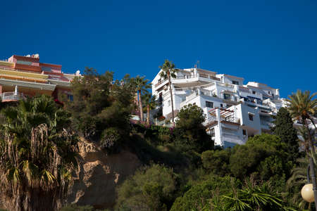 burriana beach: Houses overlooking the Burriana beach at Nerja Andalucia Spain Editorial