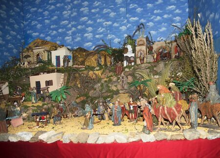 Christmas Crib in Frigiliana one of the most beautiful white villages of the Southern Spain area of Andalucia in the Alpujarra mountains. Editorial