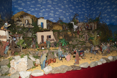 Christmas Crib in Frigiliana one of the most beautiful white villages of the Southern Spain area of Andalucia in the Alpujarra mountains.
