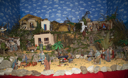 Christmas Crib in Church interior in Frigiliana one of the most beautiful white villages of the Southern Spain area of Andalucia in the Alpujarra mountains.
