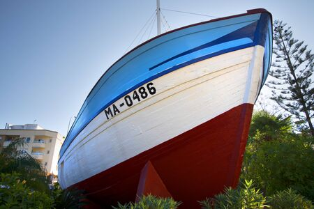 azul: The fishing boat La Dorada, made famous in the 1980s TV series Verano Azul now in park in Nerja Spain