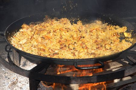 burriana beach: a huge pan of Paella on the Burriana Beach in Nerja Andalucia Spain
