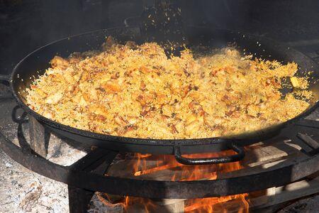 nerja: a huge pan of Paella on the Burriana Beach in Nerja Andalucia Spain