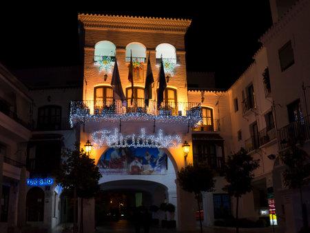 nerja: Christmas decorations on the Balcon de Europa in Nerja Spain