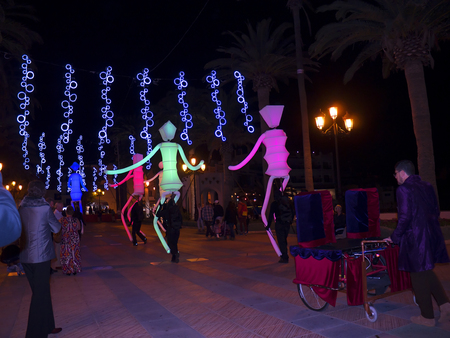 balcon: Huge Light Puppets on the Balcon de Europa in Nerja Spain