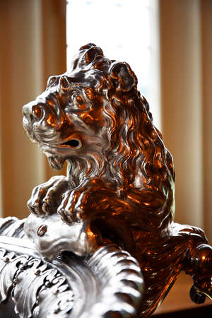 jacobean: Silver Punchbowl with Lions in Temple Newsam House in Leeds Yorkshire