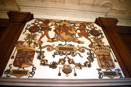 elizabethan: Elizabethan Plaster work over Fireplace in Temple Newsam House in Leeds Yorkshire