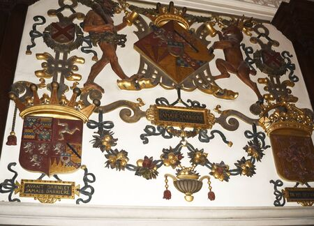 jacobean: Elizabethan Plaster work over Fireplace in Temple Newsam House in Leeds Yorkshire