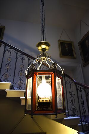jacobean: Lantern on staircase in Temple Newsam House in Leeds Yorkshire