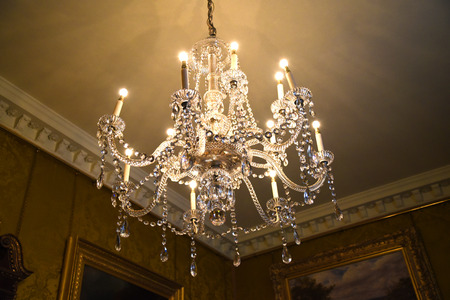 jacobean: Crystal Chandelier in Temple Newsam House in Leeds Yorkshire