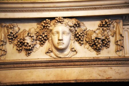 jacobean: Marble fireplace in Temple Newsam House in Leeds Yorkshire