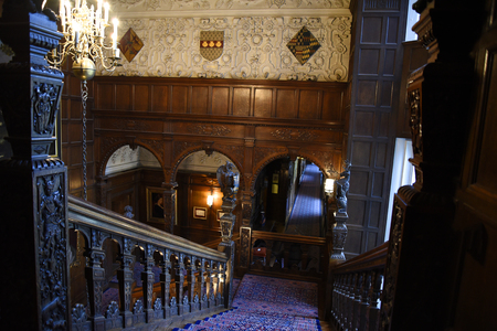 jacobean: Ornate Carved staircase in Temple Newsam House in Leeds Yorkshire