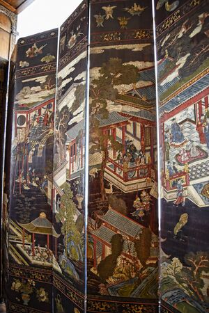 jacobean: Oriental tall folding screen in Temple Newsam House in Leeds Yorkshire Editorial