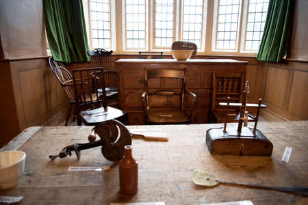 elizabethan: Childrens history lesson room in Temple Newsam House in Leeds Yorkshire
