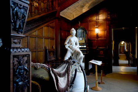 panelling: Ornate Carved staircase in Temple Newsam House in Leeds Yorkshire