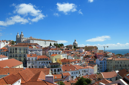 mirador: View of the Alfama and Alcantaro Districts from the Mirador of Santa Luzia in Lisbon Portugal