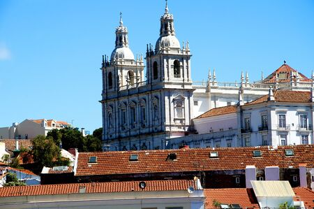 mirador: View of the Alfama and Alcantaro Districts from the Mirador of Santa Luzia in Lisbon Portugal