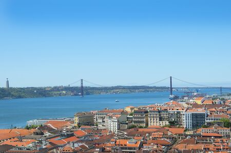 the tagus: Vasco da Gama Bridge across the River Tagus in Lisbon Portugal
