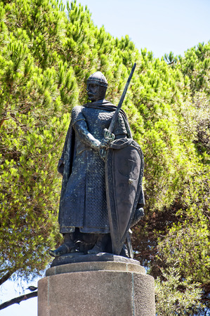 jorge: Statue at the Castle of Sao Jorge  or Saint George above Lisbon Portugal Editorial