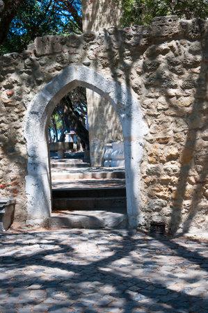 jorge: Castle of Sao Jorge  or Saint George above Lisbon Portugal Editorial