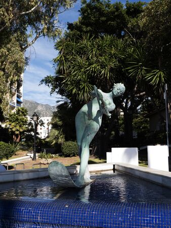 water skier: Water Skier Statue on the Beach in Marbella Spain