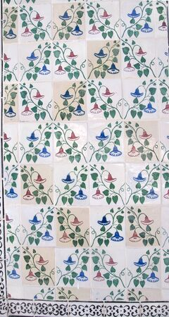 oldest: Ceramic Tiles in the Alfama which is the oldest district of Lisbon, it spreads down the southern slope from the Castle of So Jorge to the River Tagus Stock Photo